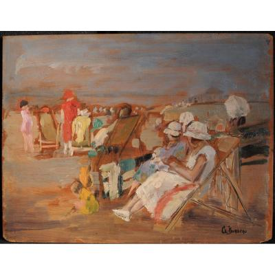 Clémence Burdeau - Beach Scene, Women In Deckchairs