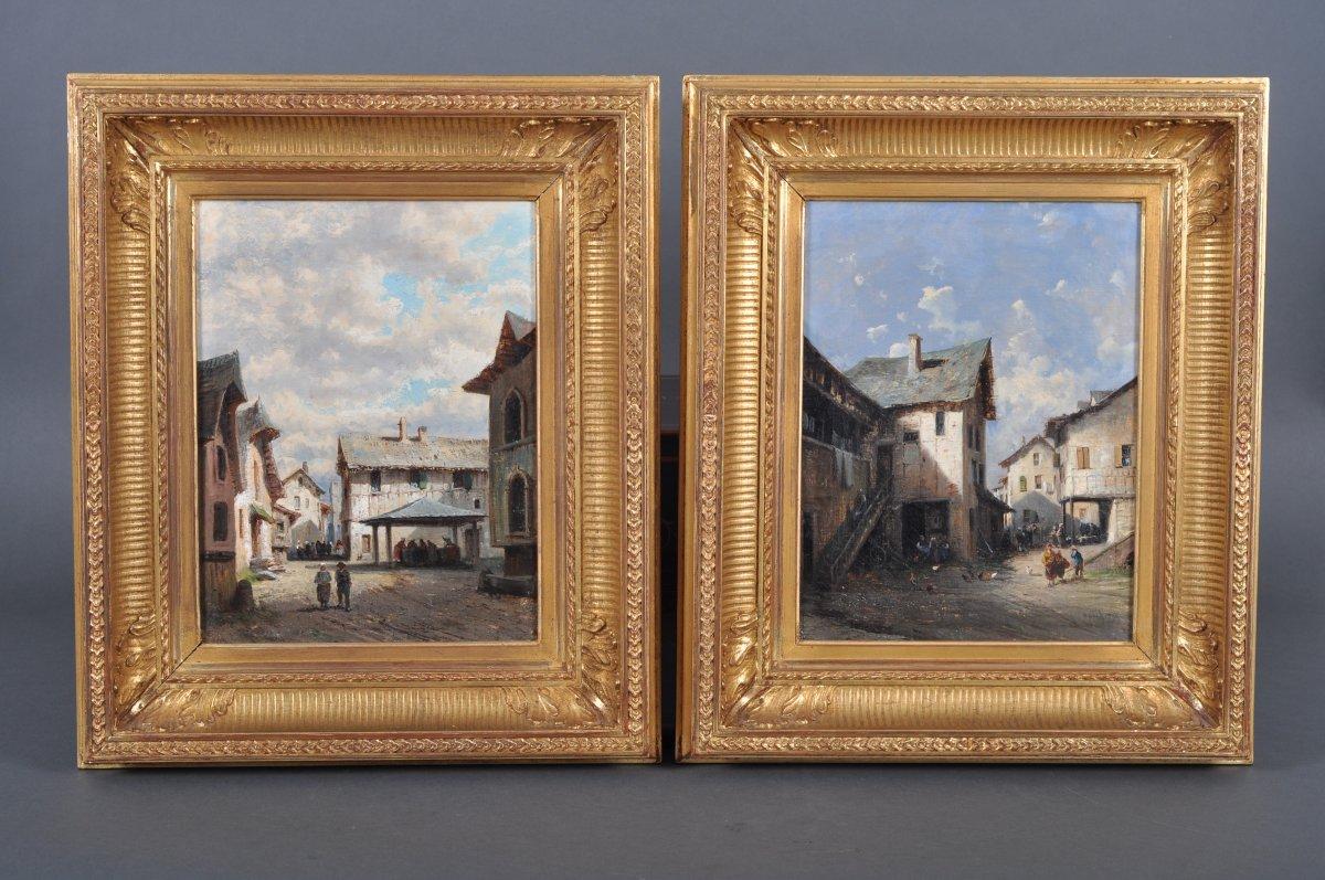 Alfred Godchaux (1835-1895), paire d'huiles sur toiles.