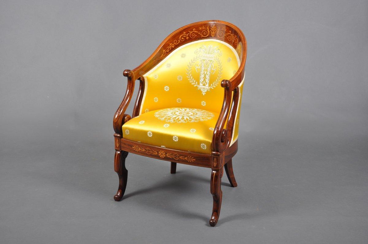 Fauteuil gondole d'époque Charles X en palissandre attribué à GAUCHAT.
