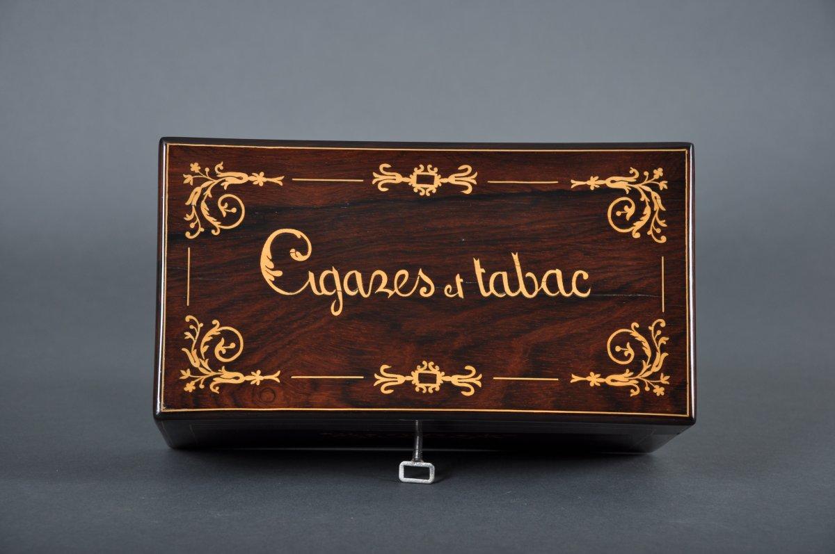 Coffret à cigares et tabac d'époque Charles X en palissandre.-photo-4