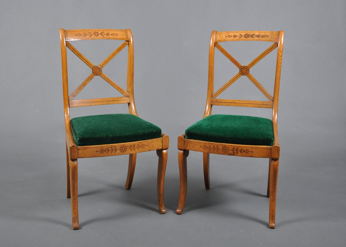 Pair Of Charles X Period Chairs In Ash.