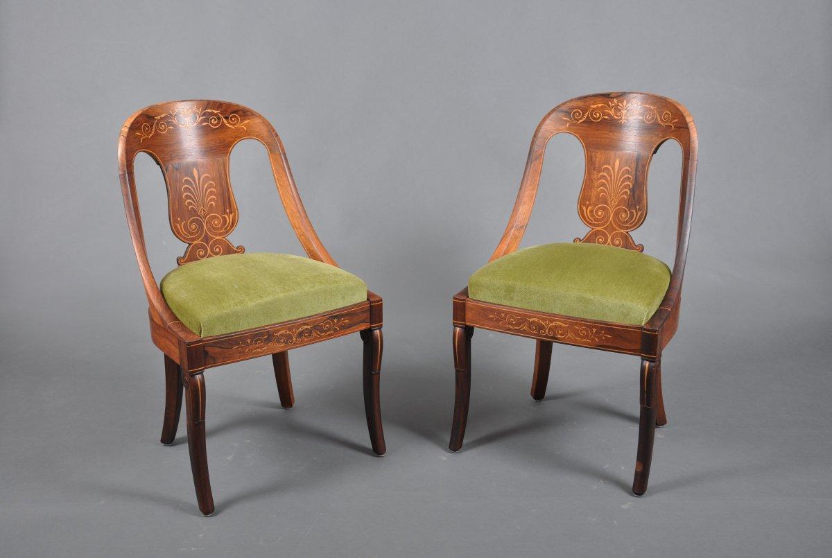 Paire de chaises d'époque Charles X en palissandre estampillées Jeanselme.