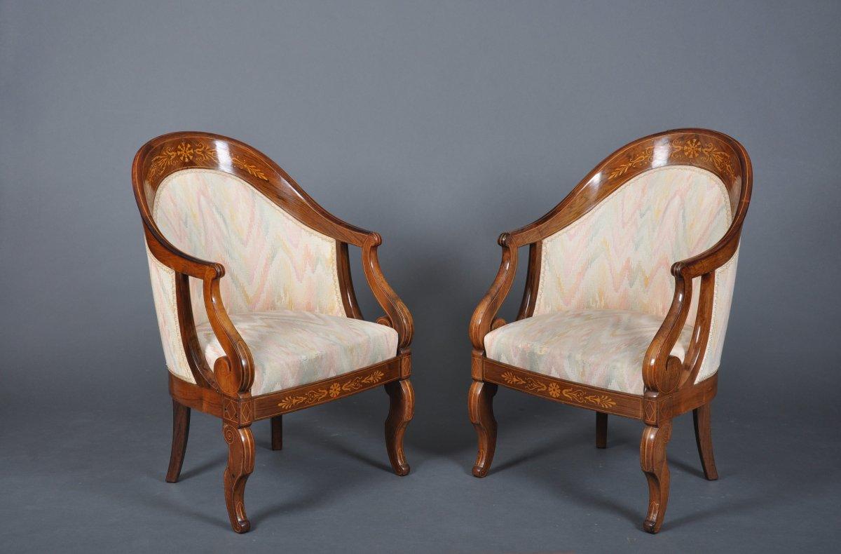 Paire de fauteuils gondoles d'époque Charles X en palissandre, signés Meunier