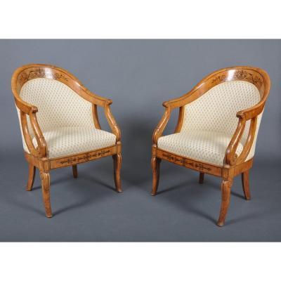 Paire de fauteuils gondoles d'époque Charles X en frêne, estampillés Jeanselme