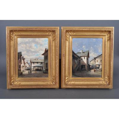 Alfred Godchaux (1835-1895), Pair Of Oils On Canvas.