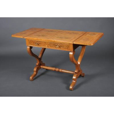 Office Table With Shutters Of Charles X Period In Speckled Maple.