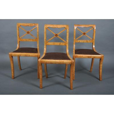 Suite Of Three Chairs Charles X Period Ash.