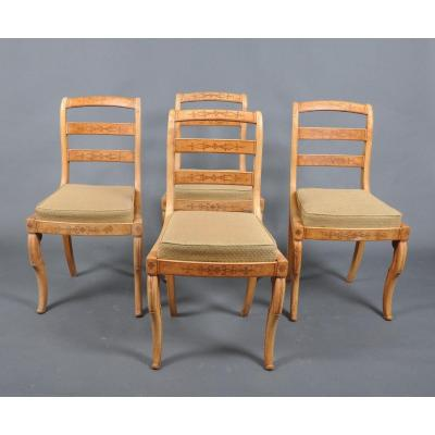 Suite Four Chairs Vintage Charles X Ash.