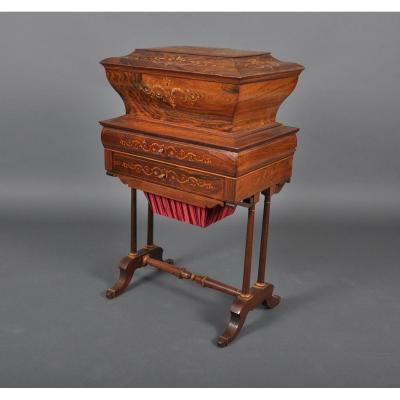 Chest With Shawls And Its Charles X Period Worker In Rosewood.