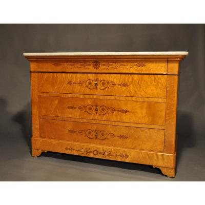 Charles X Period Commode In Speckled Maple