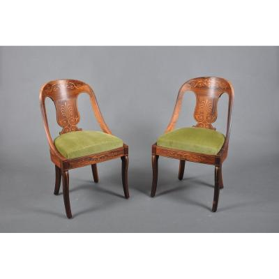 Pair Of Charles X Period Chairs In Rosewood Stamped Jeanselme.