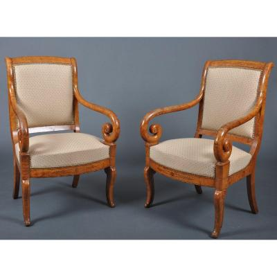 Pair Of Charles X Period Armchairs In Ash.