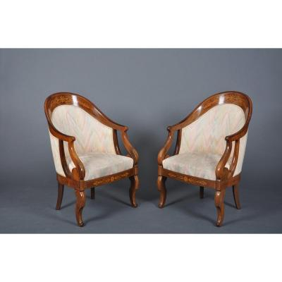 Pair Of Charles X Period Gondola Armchairs In Rosewood, Signed Meunier
