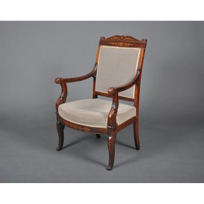 Charles X - Louis-philippe Period Armchair In Rosewood.