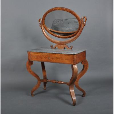 Charles X Period Dressing Table In Speckled Maple.