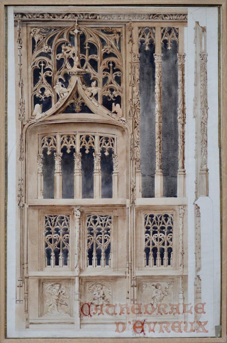 Cathédrale d'Évreux, dessin pour un concours d'architecture fin XIXème.