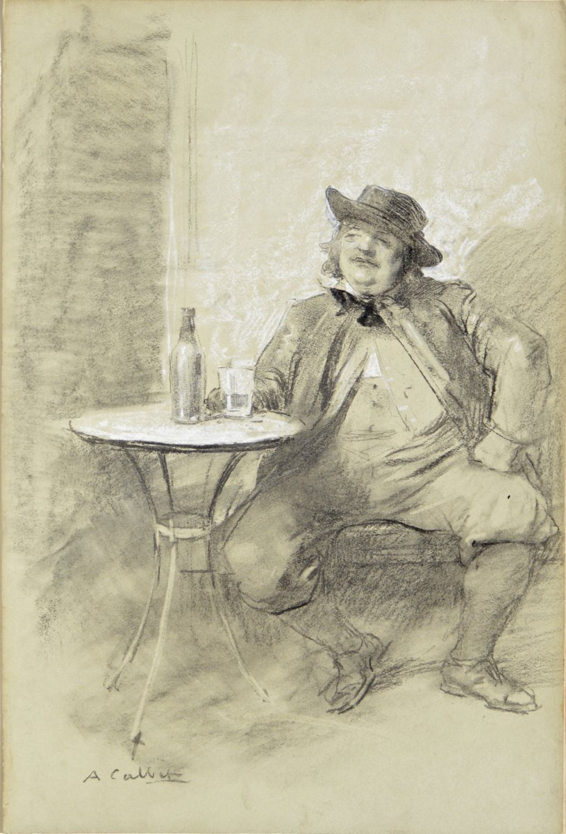 """Antoine Calbet 1860-1944. """"drinker On The Terrace Of A Cafe."""""""