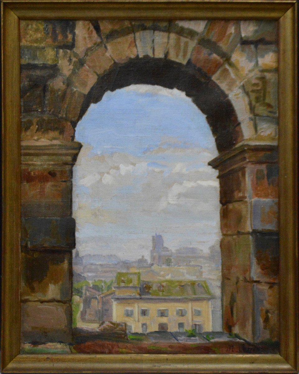 """Marthe Carrier 1888-1974. """"Vue de Rome à travers une arche du Colisée."""""""