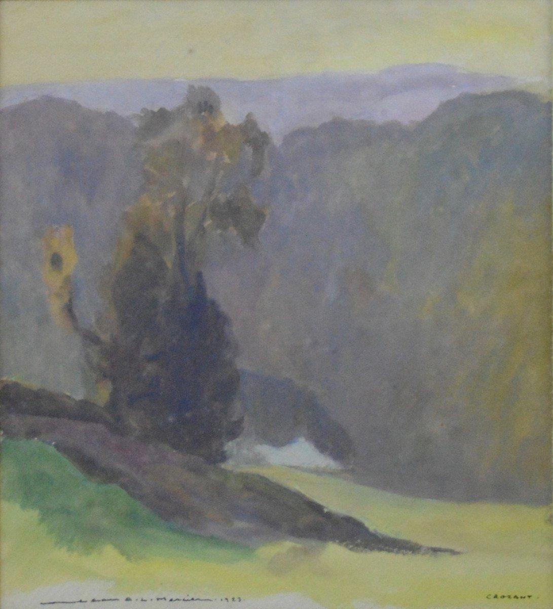 "Jean-adrien Mercier 1899-1995. ""landscape At Crozant.""-photo-2"