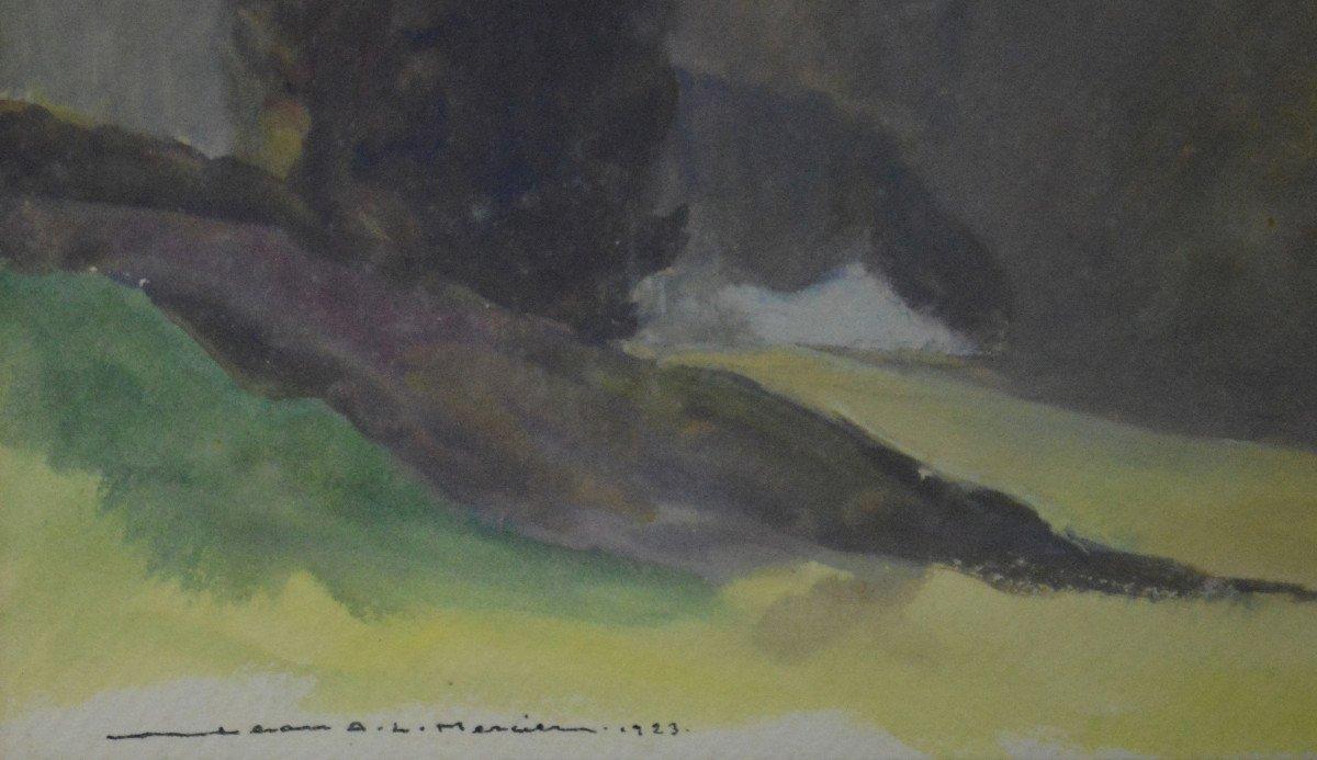 "Jean-adrien Mercier 1899-1995. ""landscape At Crozant.""-photo-3"