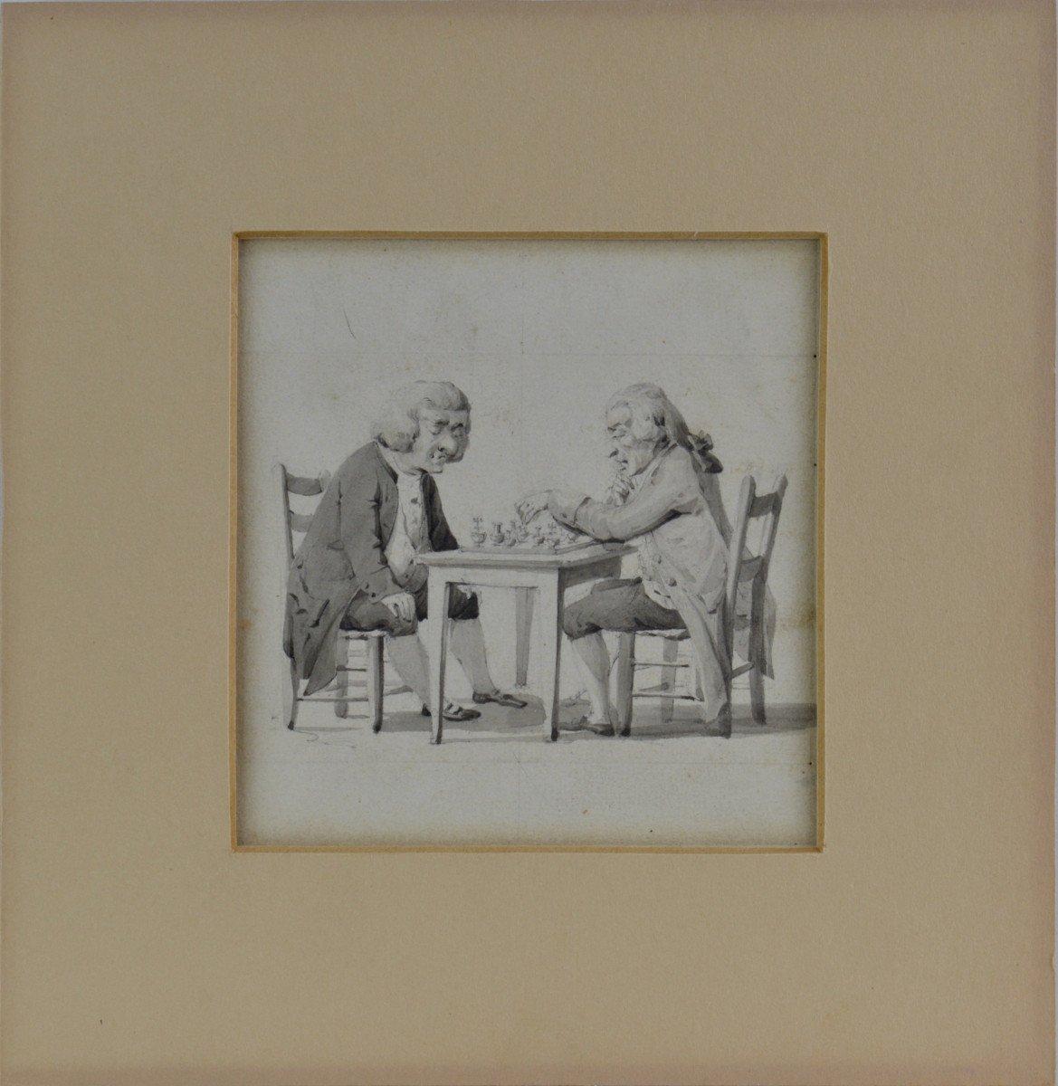 """Wolfgang Adam Toepffer 1766-1847. École suisse. """"Les joueurs d'échecs.""""-photo-2"""