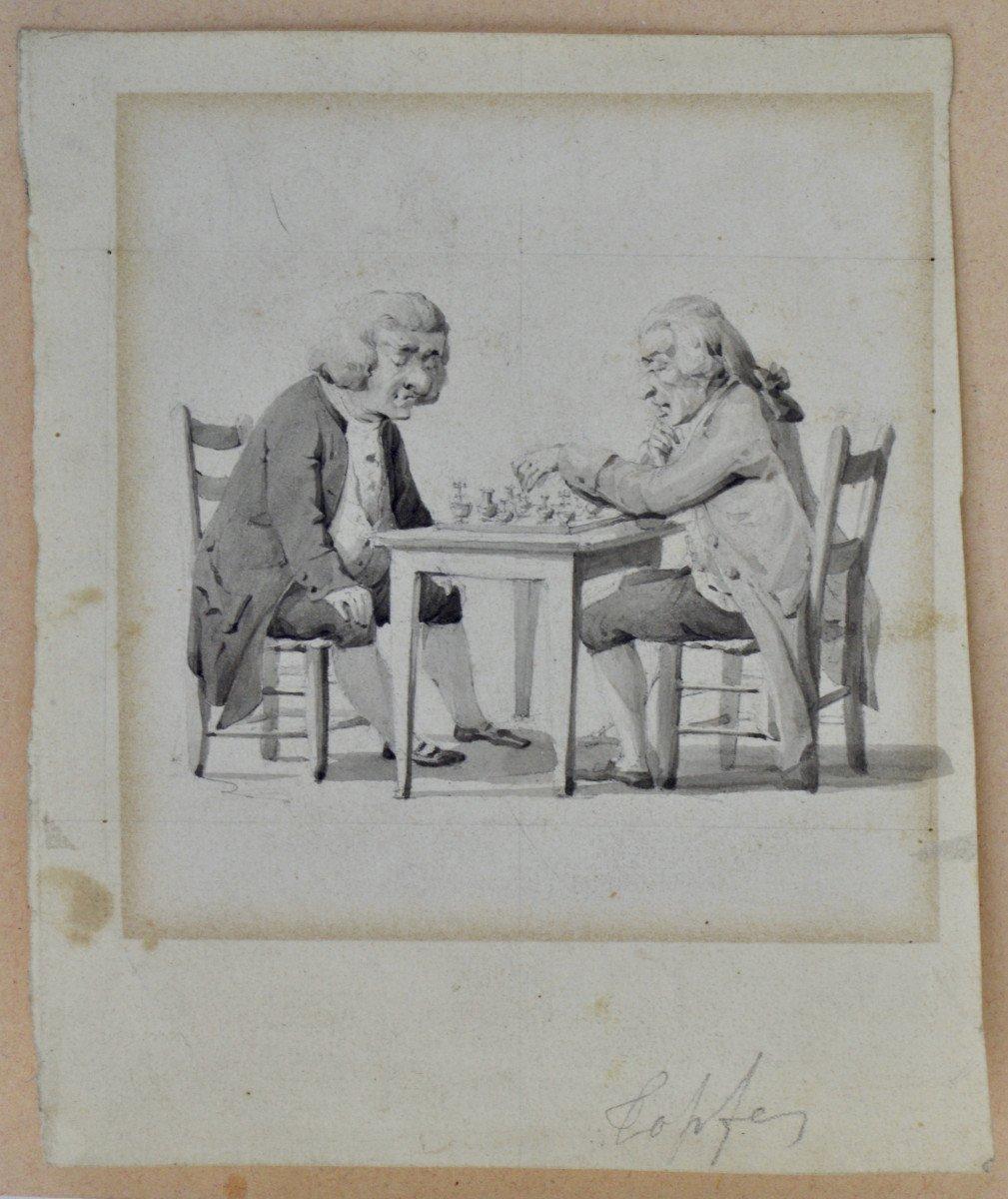 """Wolfgang Adam Toepffer 1766-1847. École suisse. """"Les joueurs d'échecs.""""-photo-3"""