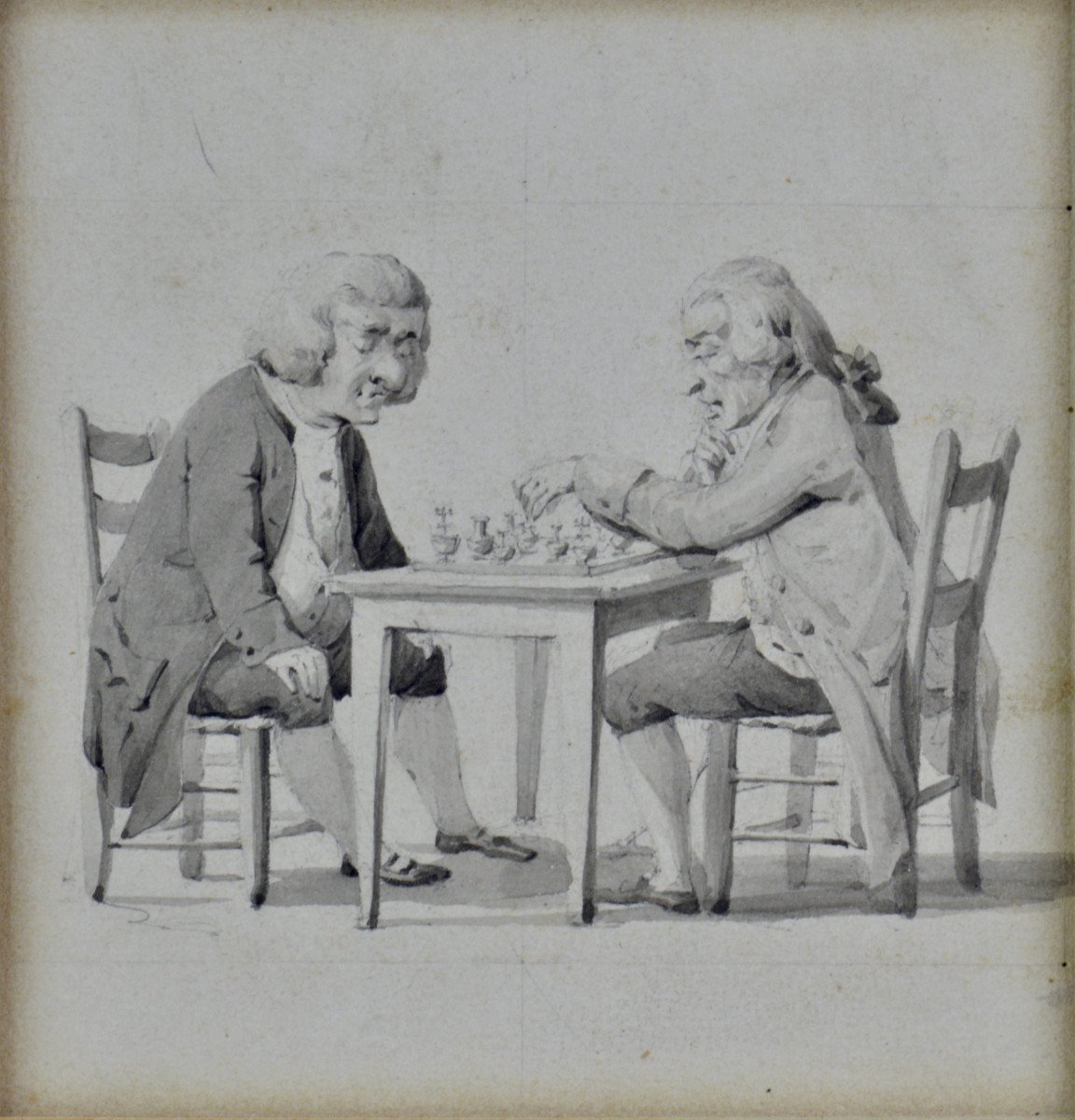 """Wolfgang Adam Toepffer 1766-1847. École suisse. """"Les joueurs d'échecs."""""""