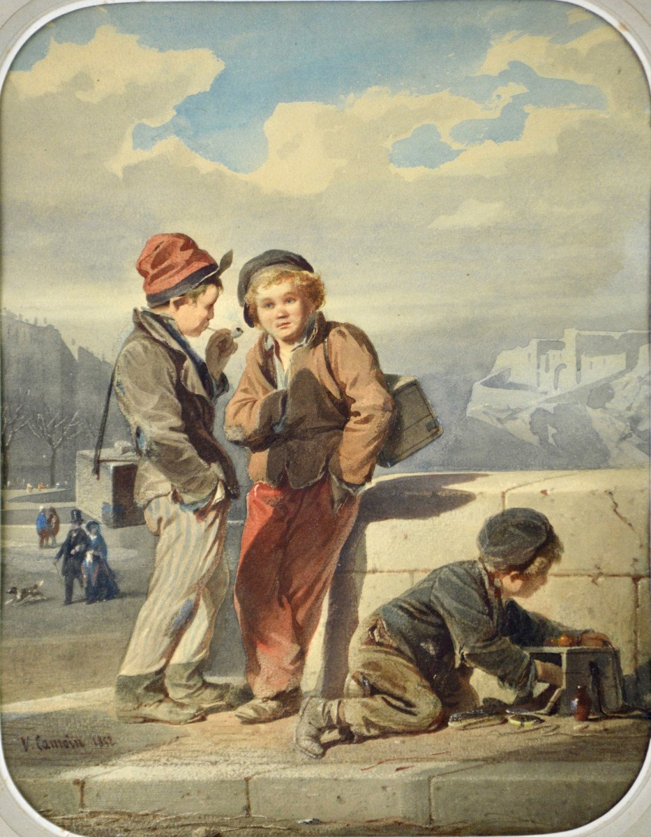 """Victor Camoin 1824-1856. """"Les petits décrotteurs.""""-photo-2"""