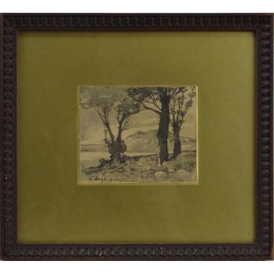 "Henri Harpignies 1819-1916. ""Paysage."""