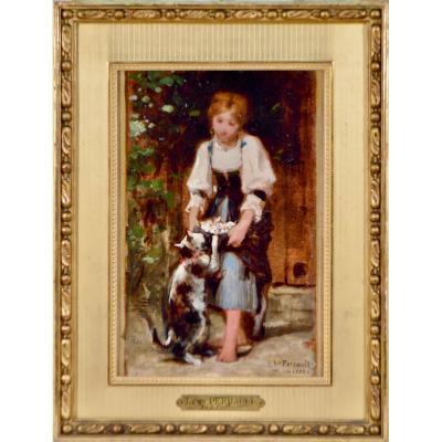 """Léon Perrault 1832-1908. """"La petite fille au chat."""""""