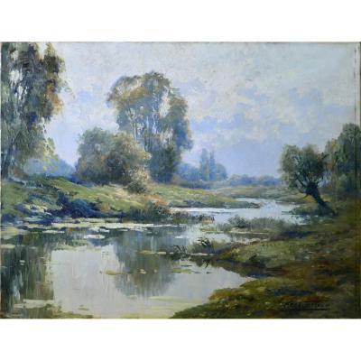 """Kees Terlouw 1890-1948. École Hollandaise.  """"Bord de rivière."""""""