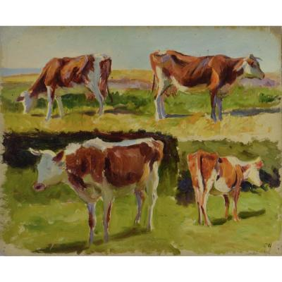 """Charles Wislin 1852-1932. """"Vaches."""""""