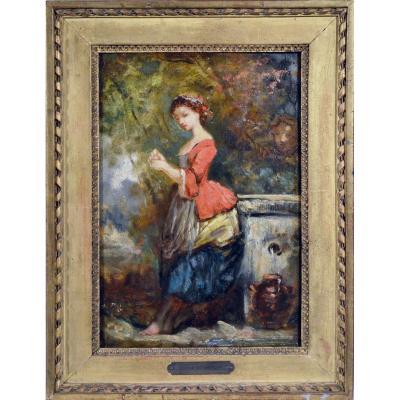 """Camille Roqueplan 1803-1855. """"Jeune fille à la fontaine."""""""