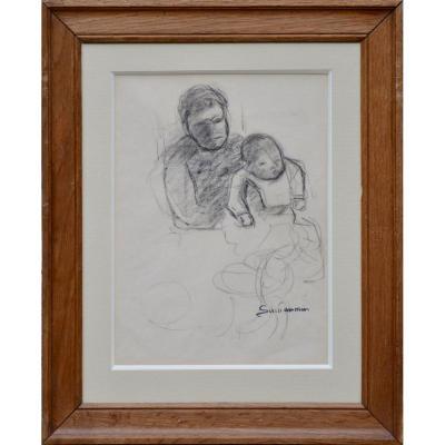 """Armand Guillaumin 1841-1927.  """"Mère à l'enfant."""""""