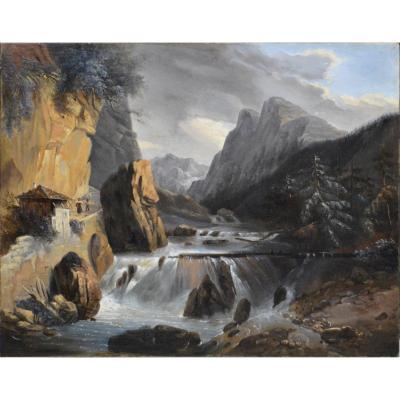 """Jules Coignet 1798-1860. """"Paysage de montagne."""""""