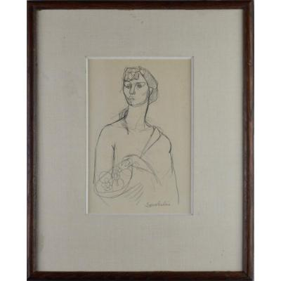 "Jean Souverbie 1891-1981. ""woman With A Fruit Bowl."""