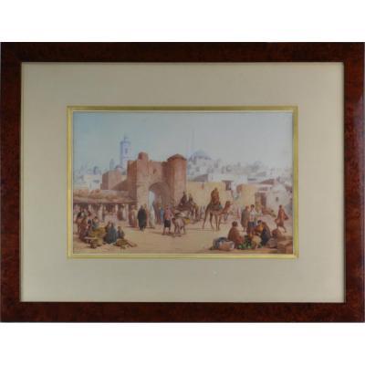 "Louis Tesson 1820-1870. ""Scène orientaliste."""