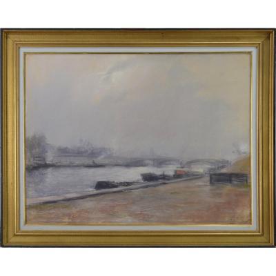 """Pierre Jacques Pelletier 1869-1931. """"Bord de seine à Paris."""""""