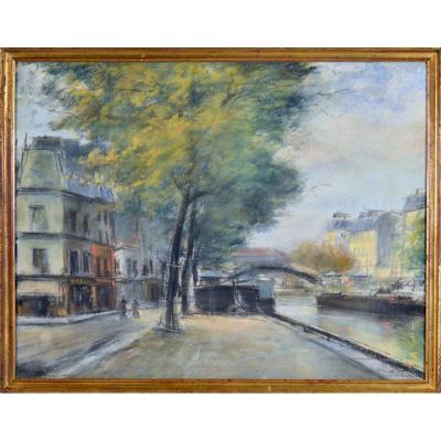 """Pierre Jacques Pelletier 1869-1931. """"Le canal ST Martin à Paris."""""""