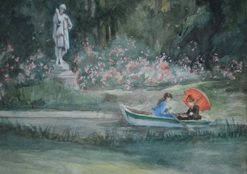 """Charles-carolus Duran 1837-1917. """"boating In The Park.""""-photo-4"""