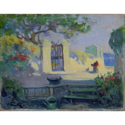 """Léon Ernest Fortuney 1875-1951.  """"Une rue à Roucas-Blanc, Marseille."""""""