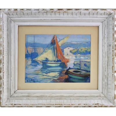 """Léon Ernest Fortuney 1875-1951.  """" Le port de Sanary sur Mer."""""""