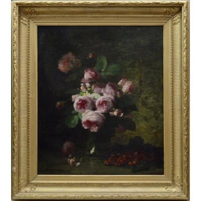 """Louis-Marie Lemaire 1824-1910. """"Bouquet de roses."""""""