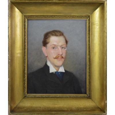 """Jean Palun 19/20ᵉ. École Bordelaise. """"Portrait d'homme."""""""