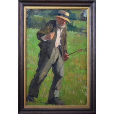 """École impressionniste. """"Le pêcheur."""" Vers 1900."""