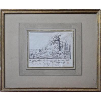 """Jean-Ferdinand Chaigneau 1830-1906. """"Le carrefour de l'Épine, forêt de Fontainebleau."""""""