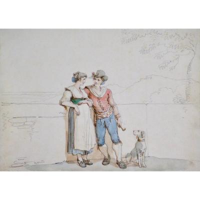 "Bartolomeo Pinelli 1781-1835. ""Jeune couple."""