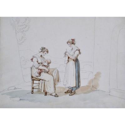 """Bartolomeo Pinelli 1781-1835. """"L'allaitement."""""""