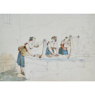 """Bartolomeo Pinelli 1781-1835. """"Les lavandières."""""""