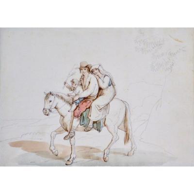 """Bartolomeo Pinelli 1781-1835. """"Famille italienne sur son cheval."""""""
